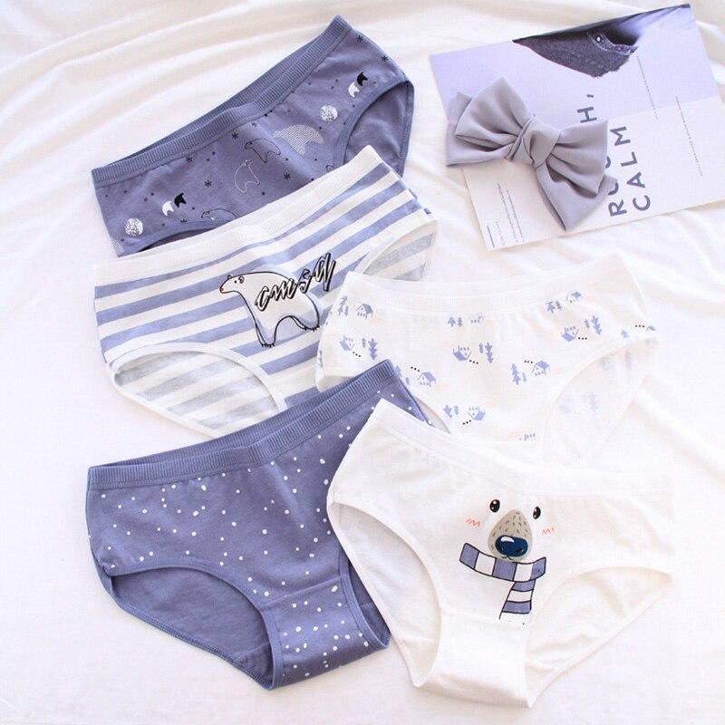 QUECOO 5pcs/lots New cartoon polar bear print women's underwear cotton mid-rise women's cotton briefs sexy Women's   Panties