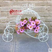 European style pastoral ironwork small pumpkin truck flower rack wedding props display shop window wedding decoration