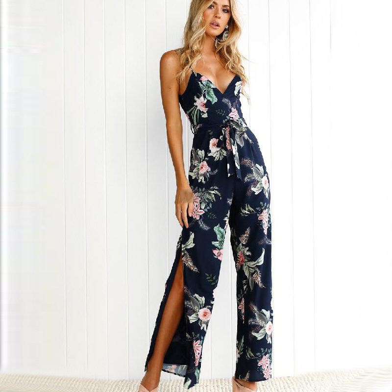 2018 New Womens Spaghetti Strap Long Jumpsuits Boho Navy Floral Jumpsuit Sexy Side Spilt Wide Leg Pants Summer Backless Overalls