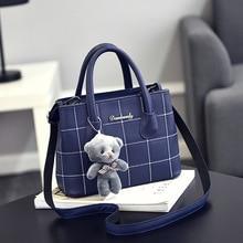 2019 New Women Bag Lady Classic Casual Fashion   Printing PU leather  Messenger Bag Shoulder Handbag with Bear Pendant