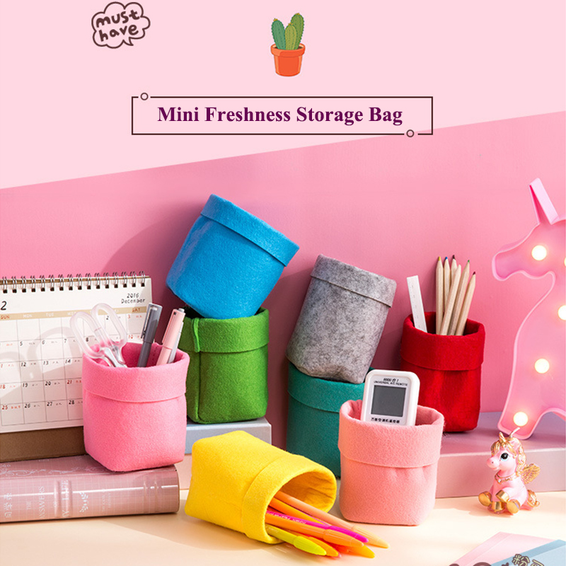 5pcs/set Foldable Felt Storage Bag Succulents Flower Pot Cover Colorful Office Desk Makeup Storage Organizer -color random