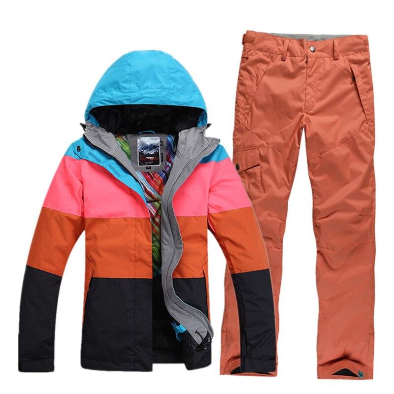 Prix pour 2017 femmes ski veste couleurs mélangées dames de veste de snowboard veste de ski neige parka vêtements de ski imperméable et respirante chaud