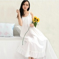 pure cotton skirt strap nightgown fresh royal white sexy sleepwear female full dress plus size loose lounge