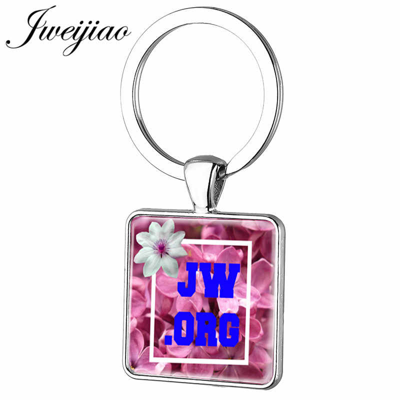 JWEIJIAO 2019 New Flowers JW.ORG 25mm Square Keychain Silver Color Metal Key Chain Ring Holder Custom Jewelry Gift JW12
