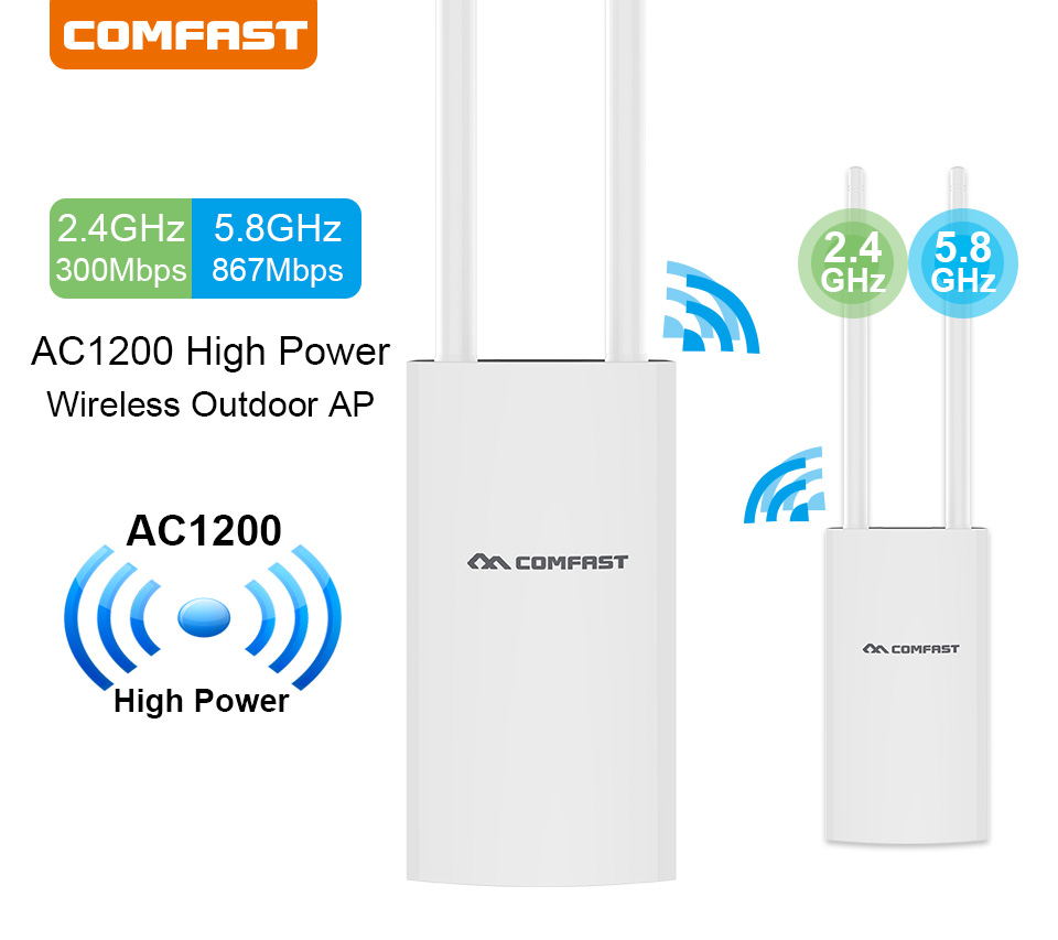 Outdoor WiFi Repeater AC1200 Router Amplifier Wi Fi Booster Outdoor AP Wi-Fi Extender WIPS Weatherproof 2.4G+5GHz Access Point
