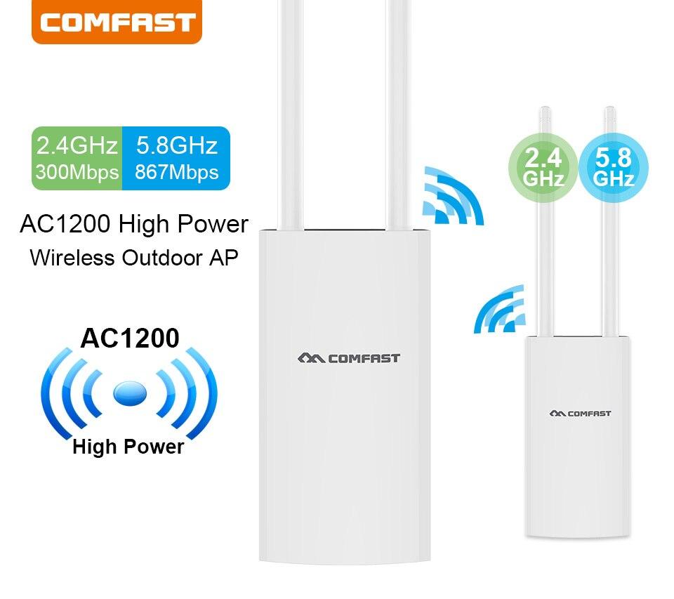 Répéteur WiFi extérieur AC1200 routeur amplificateur WiFi Booster extérieur AP Wi-Fi Extender WIPS étanche 2.4G + 5 GHz Point d'accès
