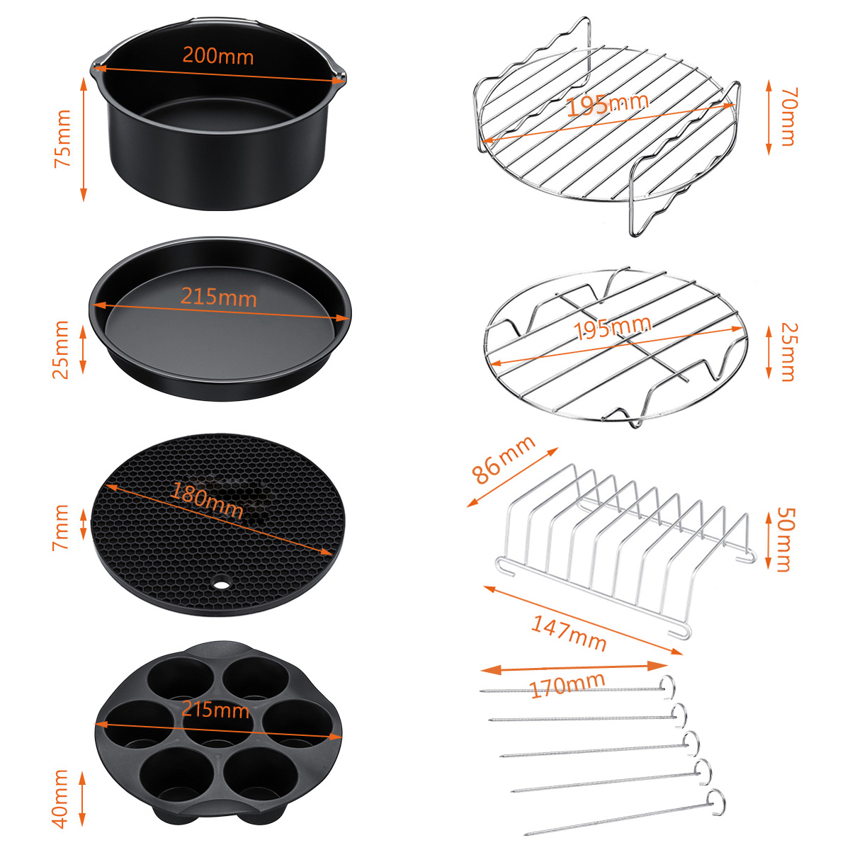 12x Air Fryer Accessories 9 Inch Fit For Airfryer 5.2-6.8QT Baking Basket Pizza Plate Grill Pot Kitchen Cooking Tool For Party