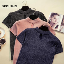 SEDUTMO 2018 Summer Sequins Harajuku T Shirt Women Knitted Hollow Tops Short Sleeve Turtleneck Shirts Spring Casual Tee ED179