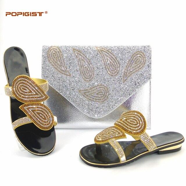 Mais recente Cor Lasca Design Italiano de Sapato e Bolsa Conjunto Decorado com Strass Sapatos de Casamento e Saco Nigeriano Africano Mulheres Sapato