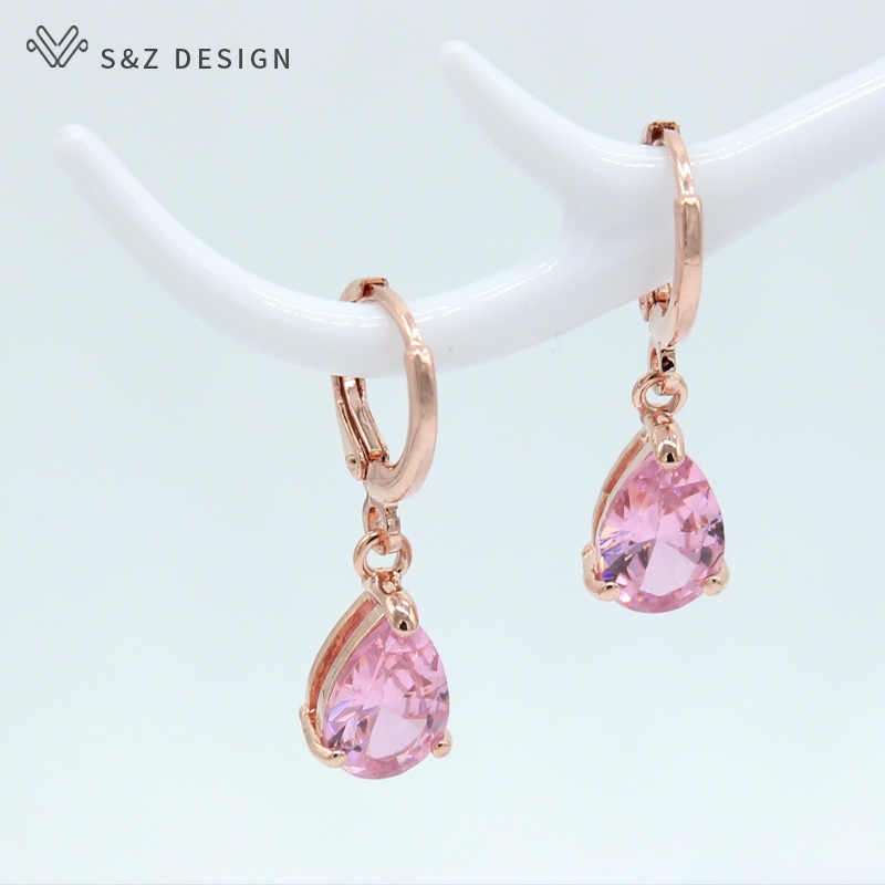 S&Z New 8 Color Zircon 585 Rose Gold Color Water Drop Earrings Korean For Women Fashion Jewelry