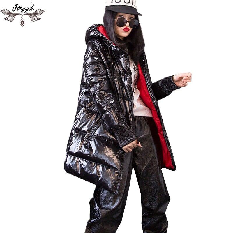 冬のジャケットの女性のパーカーレトロオートバイジャケット 2019 フード付きダウンジャケット厚い綿生き抜く冬コートガール Streetwear703  グループ上の レディース衣服 からの パーカー の中 1