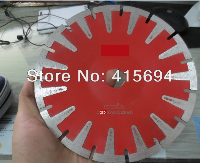 230x7x22.23-15.88mm T shape cold press segment diamond saw blade for bricks, granite,marble and concrete.