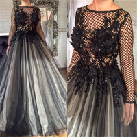 Charming Long Sleeve Net Princess Evening Dress See Through Pearls Appliques Tulle Prom Gowns 2019 Custom Made Long Formal Dress