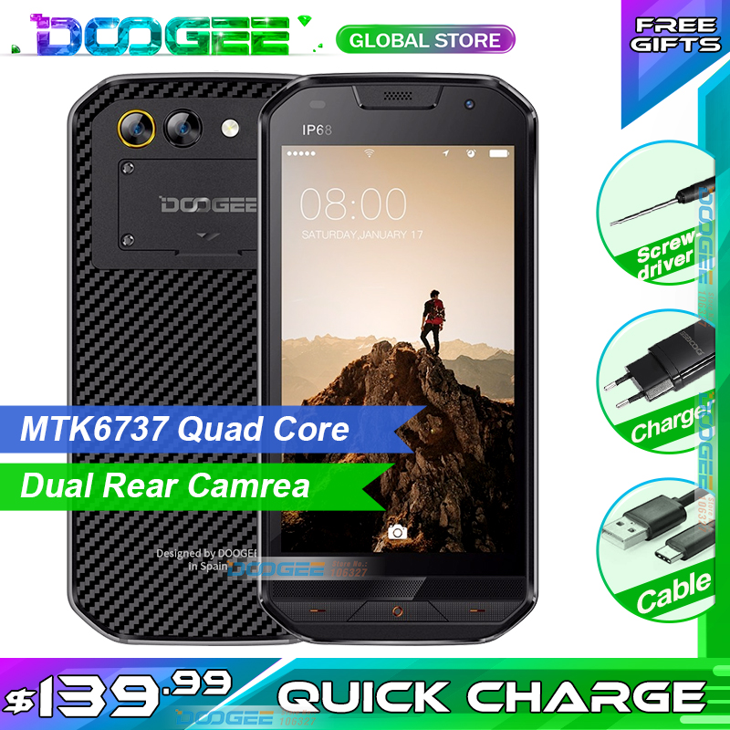 "Fast Shipping  DOOGEE S30 5.0""HD Mobile Phone IP68 Waterproof 5580mAh  2GB 16GB 8MP MTK6737V Android 7.0 Smartphone"