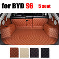 Guarnecido del maletero del coche para BYD S6 5 asiento todos los años de carga cuero forro Envolvente completo esteras del coche de accesorios de auto todo el tiempo de carga