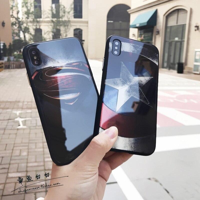 For Iphone 6 6plus 6s Plus 7 7plus 8 X Luxury Glass Phone Cover Retro Captain America Superman Case Drop Silicone All Inclusive