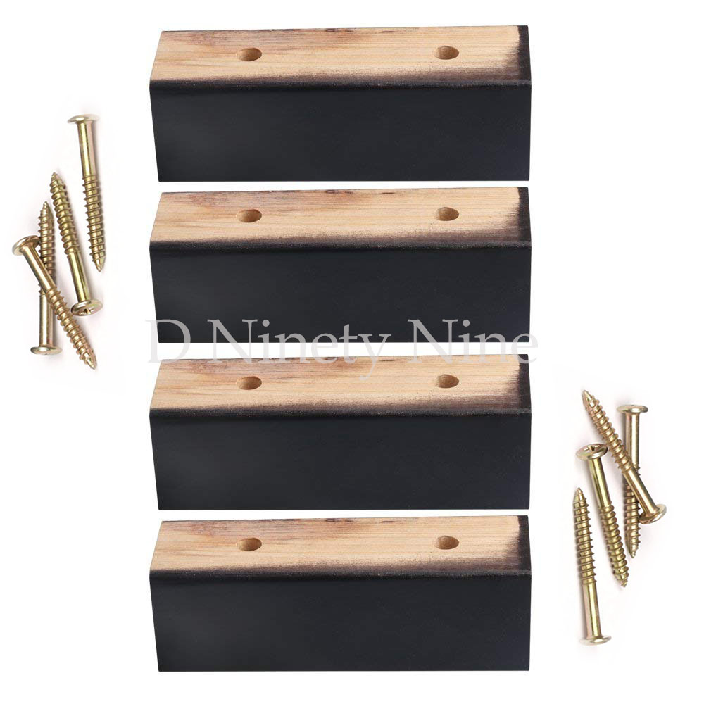 Natural Wood 15x4.7x4.7cm Black Pine Wood Furniture Legs Feet 100kg Bearing Weight Lifter For Sofa Cabinet Table Beds Set Of 4