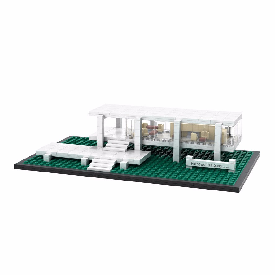 LOZ Architecture City Mini Farnsworth House World Famous Model Building Blocks Sets Bricks Classic Kids Gifts Toys city architecture mini street scene view reims cathedral police headquarters library fire departmen building blocks sets toys
