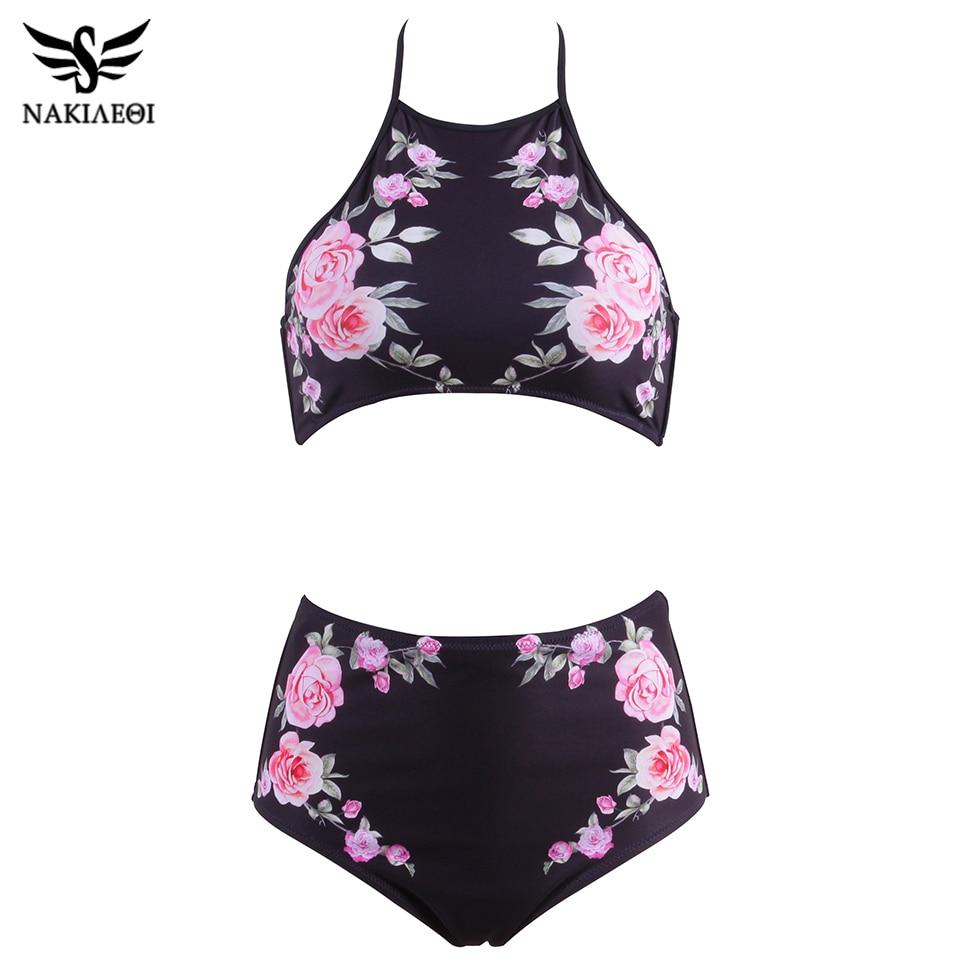 NAKIAEOI 2019 New High Neck Bikinis Women Swimwear High Waist Swimsuit Retro Print Floral Crop Top Halter Bikini Set Bating Suit