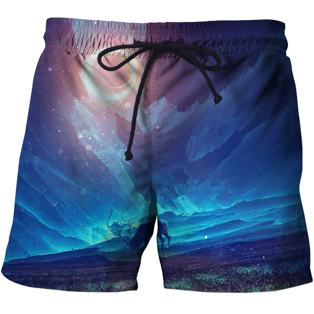 Deer Animal Loose Men T-Short 3D print Summer Surfing Beach Quick Dry Pants Anime Short Bodybuilding Breathable Fitness Male