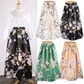 Neophil 100cm Muslim Womens Maxi Long Skirts Flower Floral Printed High Waist Ball Gown Satin Flared Floor Length Saias MS07034