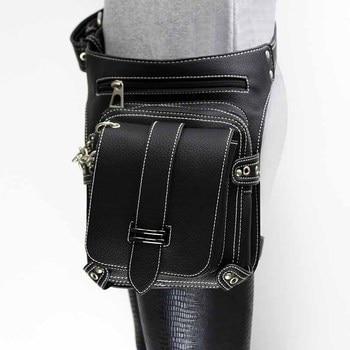 Victorian Gothic Black PU Leather Steampunk Waist Bag Unisex Cosplay Field Battle Game Retro Punk Utility Bag Corset Accessories