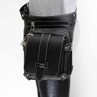 Victorian Gothic Black PU Leather Steampunk Waist Bag Unisex Cosplay Field Battle Game Retro Punk Utility Bag Corset Accessories