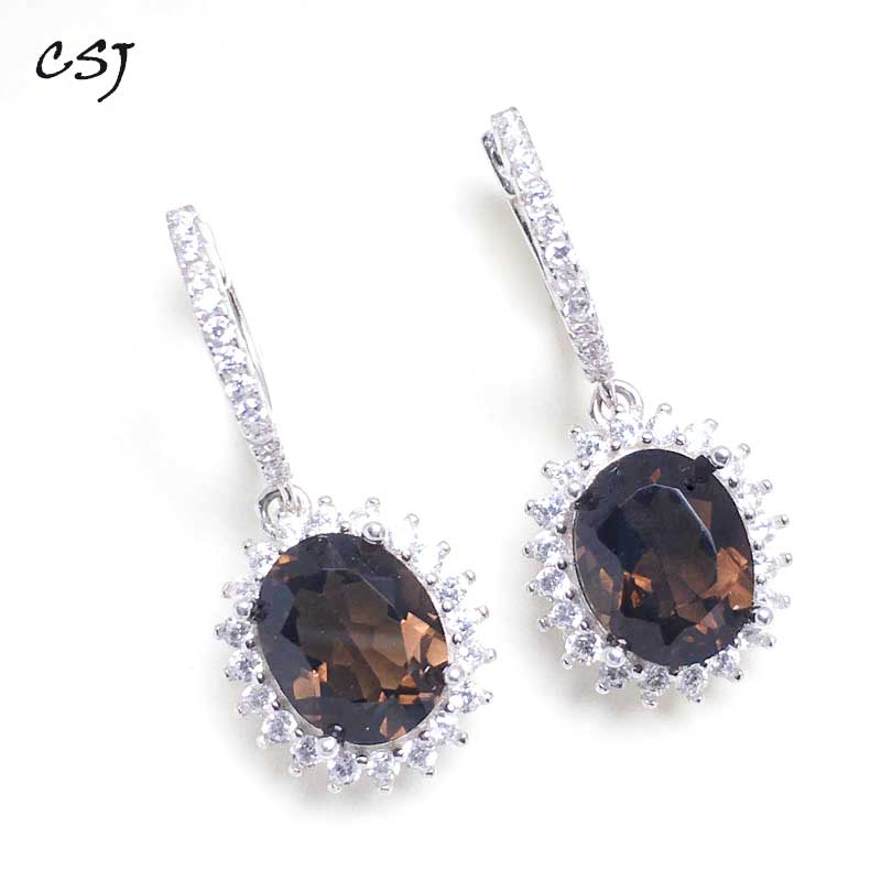 Drop-Earrings Fine-Jewelry Wedding-Engagment 925-Sterling-Silver Smoky Natural Women