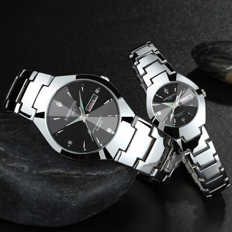 Steel Men Wristwatch Lovers Couple Watches Fashion Brands KINGNUOS Authentic Quartz Clock Man Calendar Waterproof Watch XF1302 100% authentic kingnuos men watch fashion couple high quality quartz clock watch band stainless steel man waterproof wrist watch