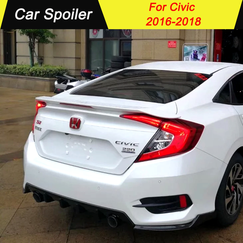 For Honda Civic 2016 2018 High Quality ABS Plastic Thailand RS Style Primer Color Tail Wing