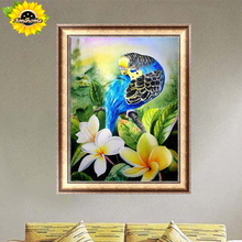 Aml Home Diamond embroidery blue parrot flower diy 5d diamond painting cross stitch animal picture parrot rhinestone Paintings