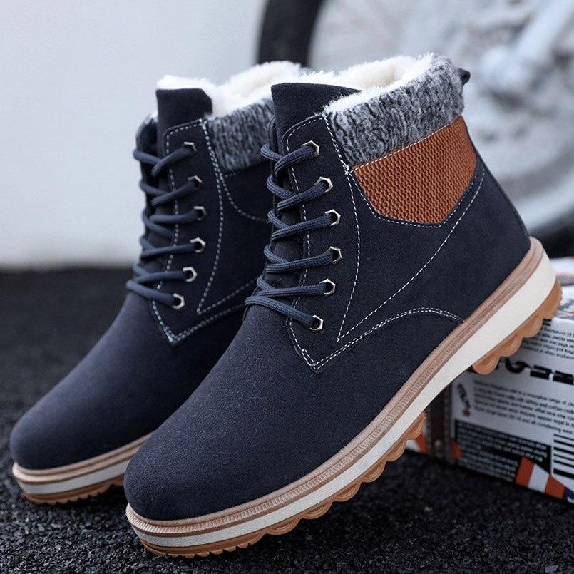 8793bae68b8 Martin Hombre Zapatos Casual Nieve Fidanei De khaki Botas Los Encaje black  Blue 2018 Invierno Hombres Cálido Caliente Algodón Para Moda ...