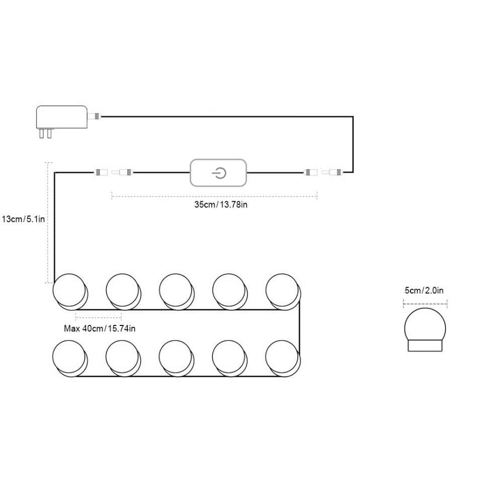 Светодиодный свет тщеславия затемнения Макияж Vanity лампы 110 В 220 В туалетный столик Ванная комната Зеркало light Touch Управление, питание, нет зеркала
