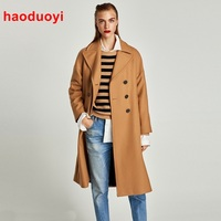 HDY Haoduoyi Casual Women Woolen Coat Winter Solid Double Breasted Turn Down Collar Pockets Female Wool