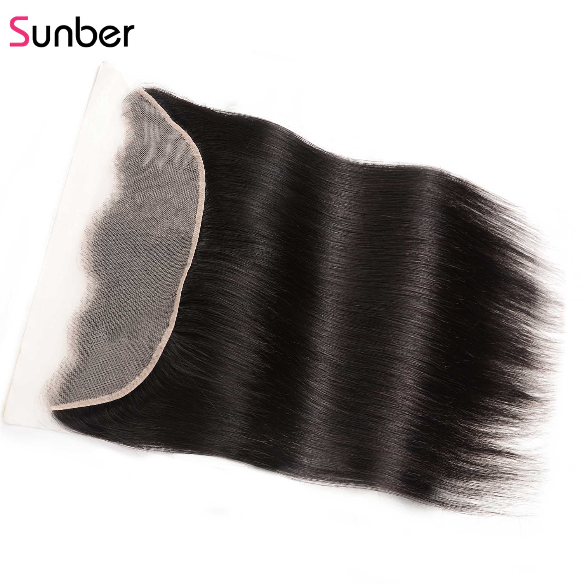"Sunber Hair Straight Transparent Lace Frontal  Human Remy Hair 13""x4"" Ear to Ear Pre-Plucked Preuvian HD Frontal Hair(China)"