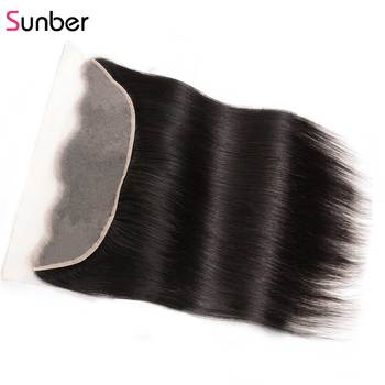 "Sunber Hair Straight HD Transparent Lace Frontal Human Remy Hair 13""x4"" Ear to Ear Pre-Plucked Preuvian Hair"