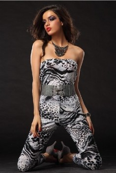 Trendy Backless jumpsuit Free Shipping Strapless Leopard Print jumpsuit 3S2276 Sexy Clubwear Jumpsuits фото