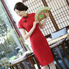 Plus Size Women Summer Dress Green Midi Dress Elegant Knee Length Qipao Dress Robe Chinoise Vestido Chino