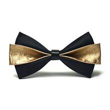 Top Quality Fashion PU Leather Bow Ties for Men Gold Wedding Butterfly Mens Bowtie Brand Gravata Borboleta Gift Box