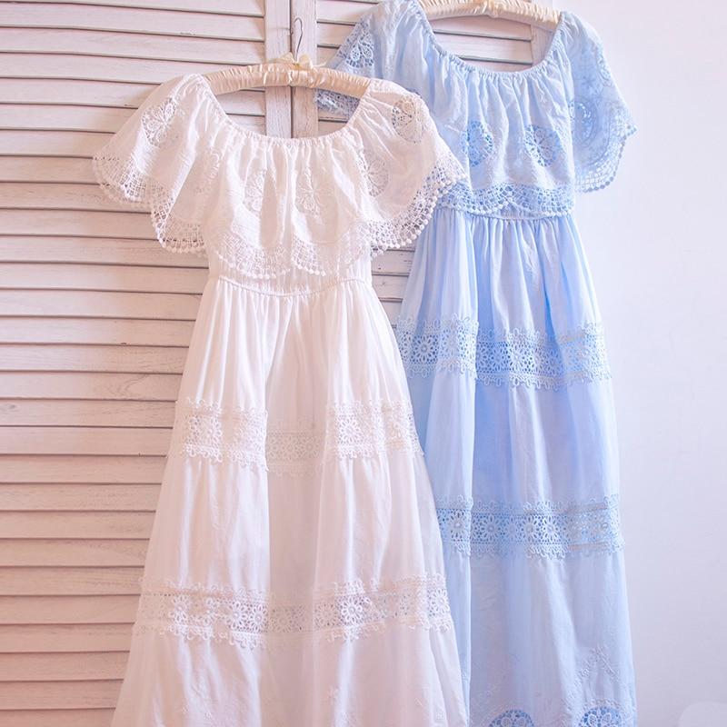 TIYIHAILEY Free Shipping High Quality Cotton Embroidery Dress Summer Long Mid Calf  White Dress Japan Style Slash Neck Dresses