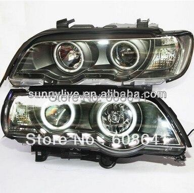 E53 X5 Tête Lampe CCFL Angel Eyes Pour BMW 1999-2003 année LF