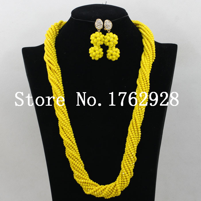 2015 Latest design Yellow Braids style Crystal Beads African
