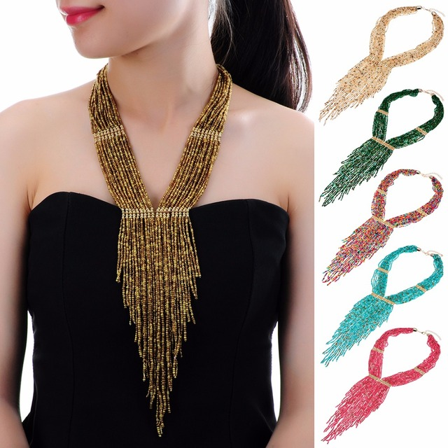 10 Colors Collar Creative Chain Style Bib Pendant Necklace Resin Handmade Beaded Necklaces Party Beads Jewelry