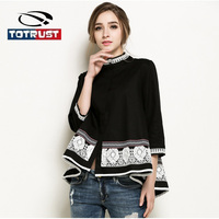 TOTRUST Elegant Lace Blouse 2018 Tops Blouses For Women Plus Size 5XL Black Pearl Blouse Beading Blusas Femininas Camisas Mujer
