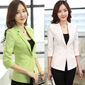 women Clothing 2016 summer slim female casual jacket coat three quarter sleeve linen blazer small cotton blazer tops outwear 3XL