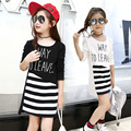 Spring/Autumn Girl's Nice Long T-shirt O-Neck Letter Decoration Patchwork Striped Tees Children Fashion Cotton Clothing Girls