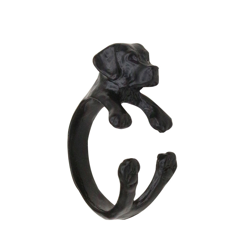 10 pieces/lot Women Men Dog Rings Puppy Open Ring Adjustable Antique Gold Silver Black Animal Finger Jewelry Accessories