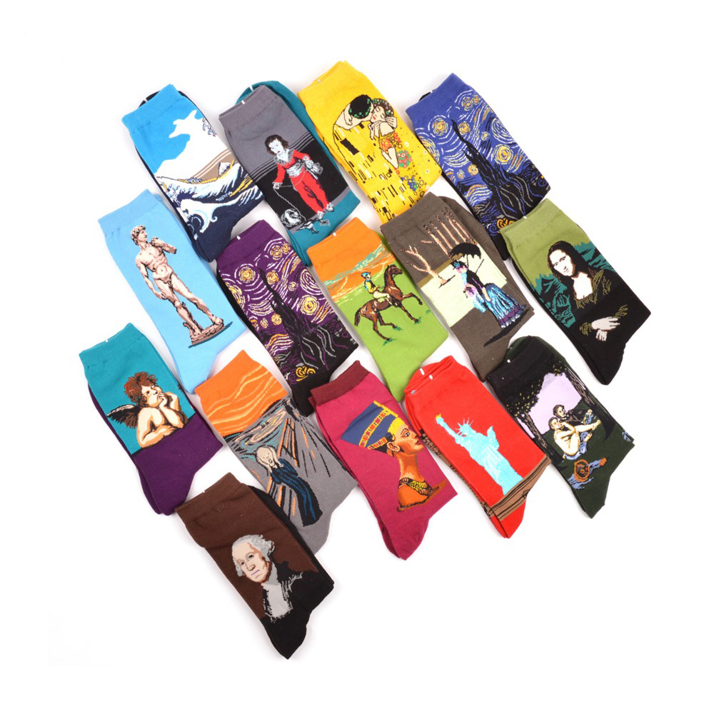 3 pair/lot Spring Summer Combed Cotton Colorful Van Gogh Retro Oil Painting Men Art Socks Man cool Casual Cartoon Funny Socks