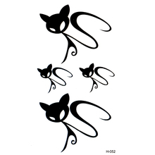 Invisible Black Cat tatoo waterproof temporary body arts flash tattoo paint 3D simulation tattoo sleeve xha hello kitty tattoos