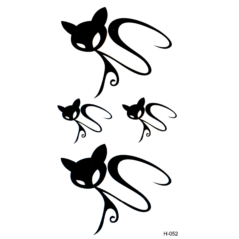 Invisible del gato negro tatoo impermeable tatuaje cuerpo arte flash ...